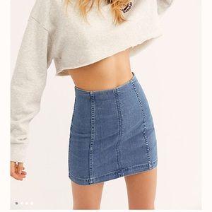 Free People Modern Femme Dark Blue Jean Skirt